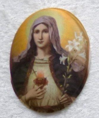 Seidenbild Herz Maria