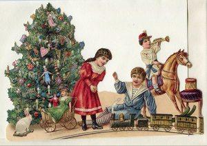 Schmuckkarte Kinder mit Eisenbahn