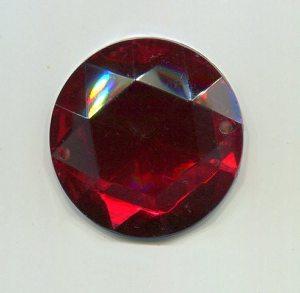 Aufnähstein, 1 Stück, Ø 28mm (rot)