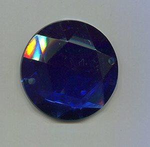 Aufnähstein, 1 Stück, Ø 28mm (d-blau)