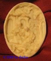 Medaillion: Krippe oval, ca. 8,5cm x 6,5cm