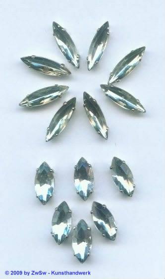 Schmuckstein, 15mm x 7mm, kristall