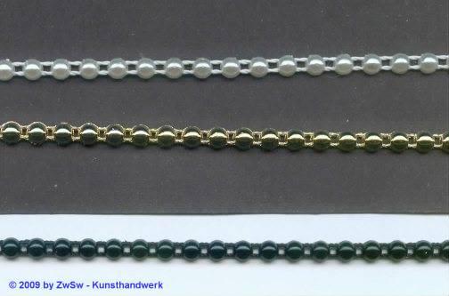 Perlen-Borte, 50 Zentimeter, 4mm breit, weiß