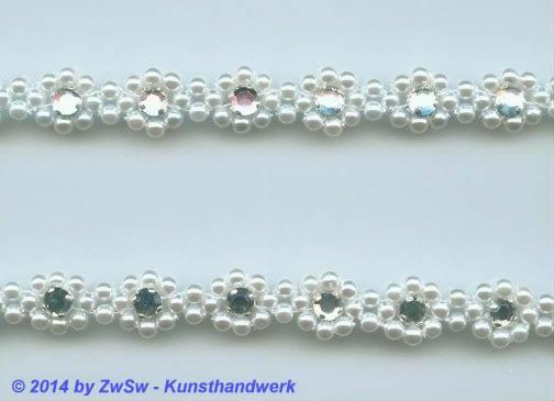 Perlen-Borte mit Strass, 50 Zentimeter, 10mm breit