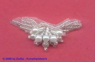 Gesticktes Perlenblatt kristall/AB, 1 Stück