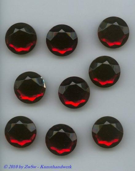 1 Strass rubin, Ø 18mm,Chatonrose