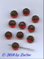 Aufnähstein rot, Ø 12mm, 1 Stück