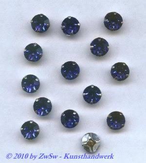 Strassstein gefasst, Ø 6,5mm/SS30, blau