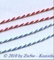 Satinkordel 2mm rot/weiß, 1 Meter