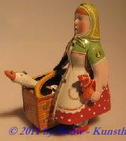 Marktfrau mit Gans  und Huhn