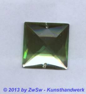 Strass-Quadrat, 25mm x 25mm, (hellgrün), 1 Stück