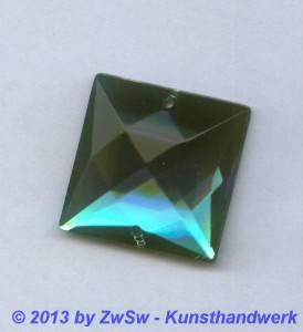 Strass-Quadrat, 25mm x 25mm, (smaragd), 1 Stück