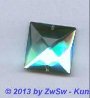 Strass-Quadrat, 25mm x 25mm, (aquamarin), 1 Stück