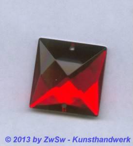 Strass-Quadrat, 25mm x 25mm, (rot), 1 Stück
