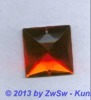 Strass-Quadrat, 25mm x 25mm, (orange), 1 Stück