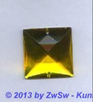 Strass-Quadrat, 25mm x 25mm, (zitronengelb), 1 Stück
