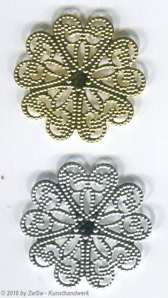 Metallrosette, gold,  5 Stück, ? 27mm