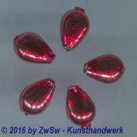 Hohlglasperlen rot, Tropfen 5 Stück
