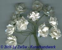 Mini Papierblumen weiss 12 Stück