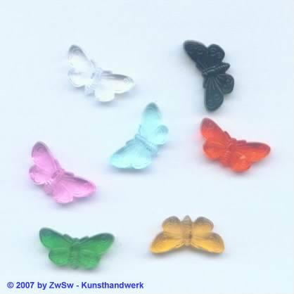 Schmetterling 5 Stück 1,8 x 0,9 cm kristall