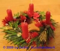 Puppenstuben Adventskranz rot