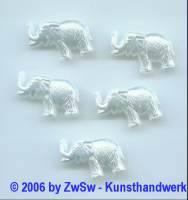 Elefant in weiß, 5 Stück, Acryl