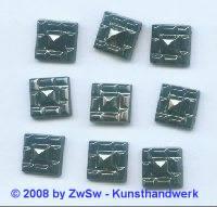 Strassstein, 12mm x 12mm, (schwarz/AB), 1 Stück