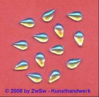 Strassstein, 9mm x 6mm, (kristall/AB), 1 Stück
