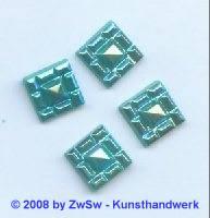 Strassstein, 12mm x 12mm, (türkis/AB), 1 Stück