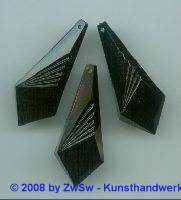 Acrylglaselement schwarz 1 Stück, 41mm x 16mm