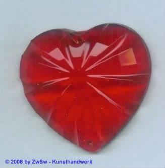 Acrylglasherz rot 1 Stück, 46mm x 43mm