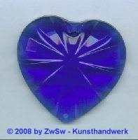 Acrylglasherz blau 1 Stück, 46mm x 43mm