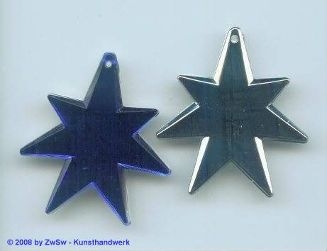 1 Stern flach verspiegelt, 40mm x 37mm, blau