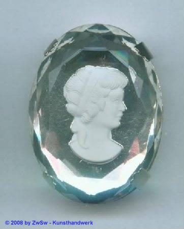 Schmuckstein gefasst 30mm x 40mm, kristall, 1 Stück
