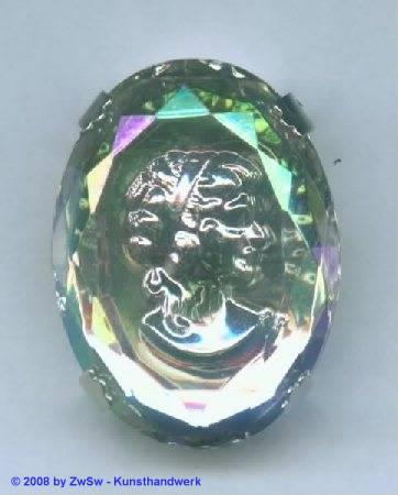 Schmuckstein gefasst 30mm x 40mm, kristall/AB, 1 Stück