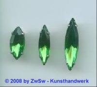 Schmuckstein gefasst 15mm x 7mm, grün, 1 Stück