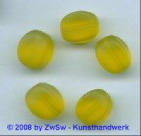 Glasperle, 1 Stück, (gelb/gefrostet), 15mm x 11mm