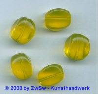 Glasperle, 1 Stück, (gelb), 15mm x 11mm