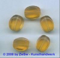 Glasperle, 1 Stück, (topas/gefrostet), 15mm x 11mm