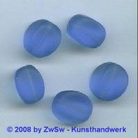 Glasperle, 1 Stück, (blau/gefrostet), 15mm x 11mm