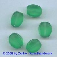 Glasperle, 1 Stück, (grün/gefrostet), 15mm x 11mm