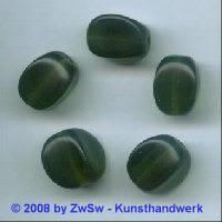 Glasperle, 1 Stück, (dunkelgrün), 15mm x 11mm