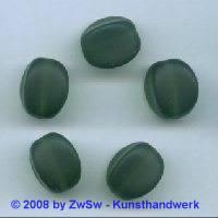 Glasperle, 1 Stück, (dunkelgrün/gefrostet), 15mm x 11mm