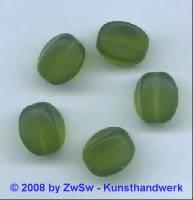 Glasperle, 1 Stück, (olivin/gefrostet), 15mm x 11mm