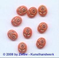 Bilderstein, 1 Stück, (orange/satt), 10mm x 8mm