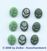 Bilderstein, 1 Stück, (grün/satt), 10mm x 8mm, silber