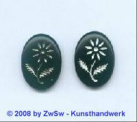 Bilderstein, 1 Stück, (schwarz), 18mm x 13mm, silber