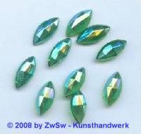 Strassstein 1 Stück grün/AB, 15mm x 7mm