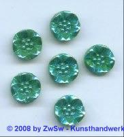 Blütenstrassstein 1 Stück grün/AB, Ø 14mm