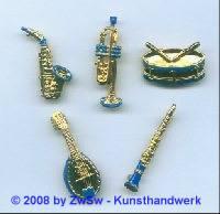Saxophon, 35mm lang mit blau, 1 Stück
